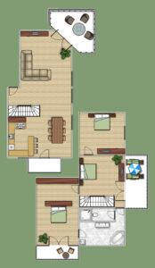 Grundriss Appartement mit 3 Schlafzimmern